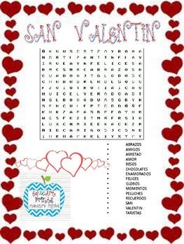 San Valentín Sopa de Letras