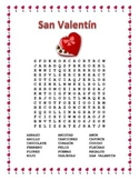 San Valentín- Valentine's Day Word Search  & Double Puzzle in Spanish