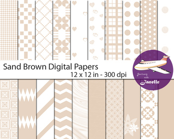 Sand Brown Digital Papers for Backgrounds, Scrapbooking & Classroom Decorations