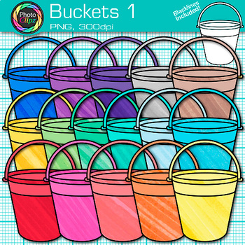 Sand Bucket Clip Art {Rainbow Beach Pails for Summer Teacher Resources} 1