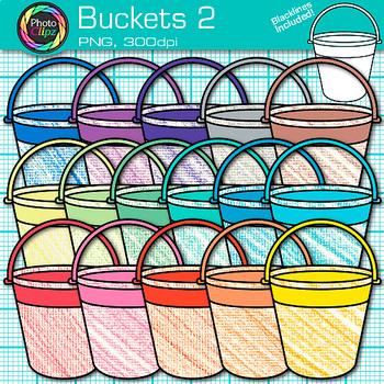 Sand Bucket Clip Art {Rainbow Beach Pails for Summer Teacher Resources} 2
