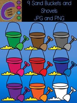 Sand Bucket Pail and Shovel Clip Art 9 Color Images