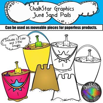 Sand Buckets June Clip Art –Chalkstar Graphics