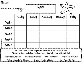Starfish Beach   Behavior Clip Chart