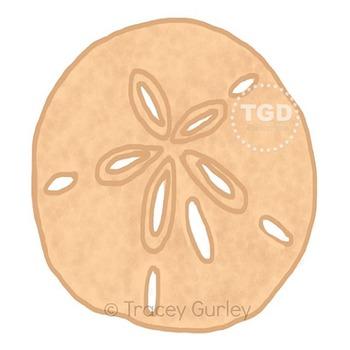 Sand Dollar - sand dollar clip art, beach art Printable Tracey Gurley Designs