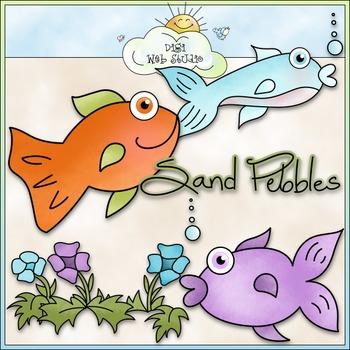 Sand Pebbles Clip Art - Fish Clip Art - Beach Clip Art - C