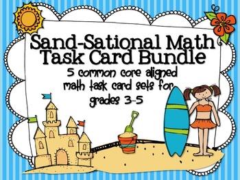 Sand-Sational Math Task Card Bundle: 5 Common Core Aligned