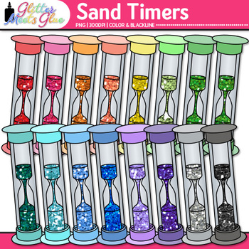 Rainbow Sand Timer Clip Art | Hourglass Measurement Tools for Science Resources