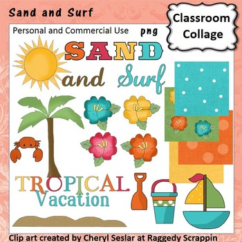 Sand and Surf clip art - Color - pers & comm use palm tree boat sand flowers