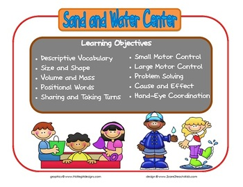 Sand and Water Learning Center Sign~ With Objectives