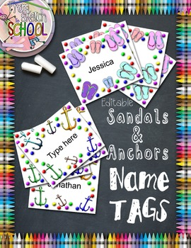 Sandals & Anchors Editable Name Tags {From Sketch to School}