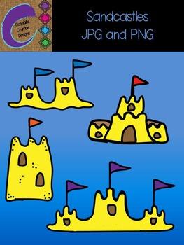 Sandcastles Clip Art  Color Images
