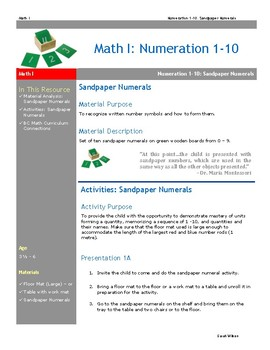 Sandpaper Numbers Numerals Montessori Math Lesson Plan Numeration BC Curriculum