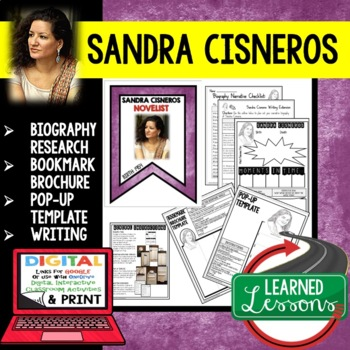 Sandra Cisneros Biography Research, Bookmark, Pop-Up, Writing
