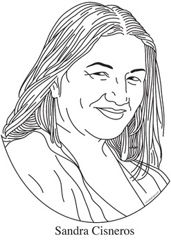 Sandra Cisneros Realistic Clip Art, Coloring Page, and Poster