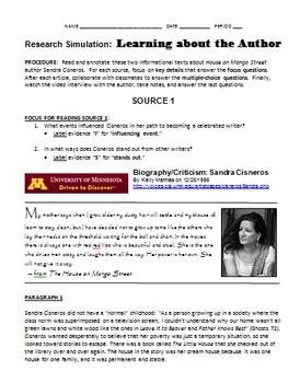 Sandra Cisneros Research Simulation Task