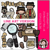 Detectives clip art - LINE ART- by Melonheadz