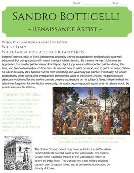 Sandro Botticelli: Renaissance Artist {no prep}