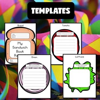 creative book report sandwich template and rubric by jewel s