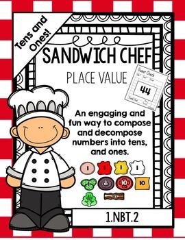 Place Value Sandwich Chef: A 2-digit  Place value activity