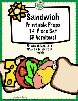 sandwich printable props 14 piece set unlabeled labeled in english