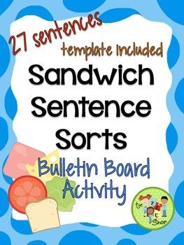 Sandwich Sentence Sort {Bulletin Board Activity} Full Version