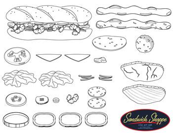 Sandwich Shoppe Clip Art Set / Food Clip Art  - Build your own sandwich!