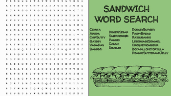 Sandwich Word Search; FACS, Culinary, Bellringer, International, World, Ethnic