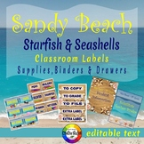 Sandy Beach - Starfish & Seashells - Supplies, Binder & Drawer Labels