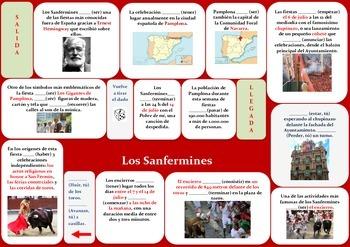 Sanfermines game/ Present Tense Spanish/ juego presente de indicativo