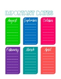 Sanity Saver: Important Dates