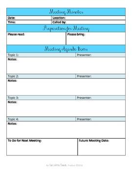 Sanity Saver: Meeting Minutes Form (Artsy Blues)