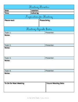 Sanity Saver: Meeting Minutes Form (Artsy Blues)