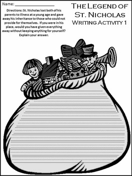 Christmas Reading Activities: The Legend of St. Nicholas Activity Packet