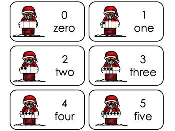 Santa 10 Frame Printable Flashcards. Preschool- Kindergarten Math.