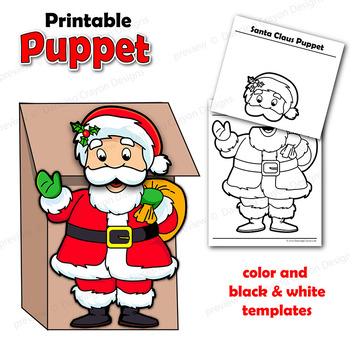 photograph relating to Santa Claus Printable Pictures named Santa Craft Printable Paper Bag Puppet Template