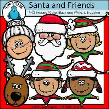Santa And Friends, Faces Clip Art Set - Chirp Graphics