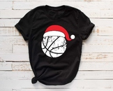 Santa Basketball Hat Christmas svg Elf sweater ball mom tackle merry 1043s
