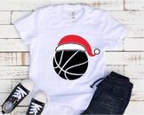 Santa Basketball Hat Christmas svg Elf sweater ball mom tackle merry 1141s