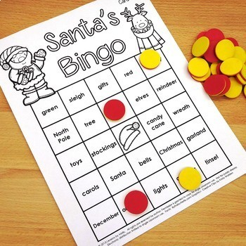 Santa Bingo for Holiday Event or Party (Black and White Version)