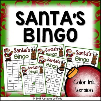 Santa's Bingo for Holiday Events and Classroom Parties {Color Version}