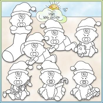 Santa Binkie Babies Clip Art - Christmas Clip Art - CU Clip Art & B&W