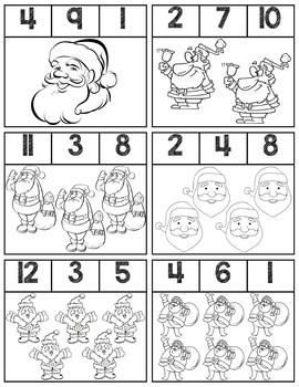 Santa Black & White Clip Cards | Numbers 1-12
