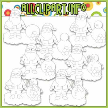 BUNDLED SET - Santa Builds A Snowman Clip Art & Digital Stamp Bundle