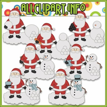 BUNDLED SET - Santa Builds A Snowman Clip Art & Digital St