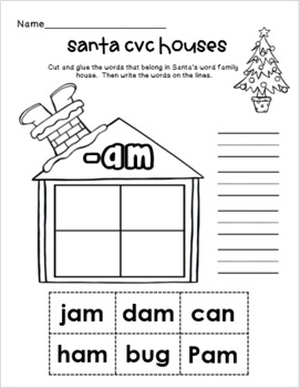 Santa CVC Word Practice Houses