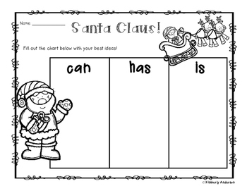"Freebie: Santa - Christmas: ""Can - Has - Is"" Chart"