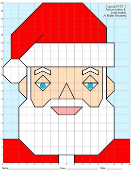 Santa, Christmas, Coordinate Drawing, Coordinate Graphing,