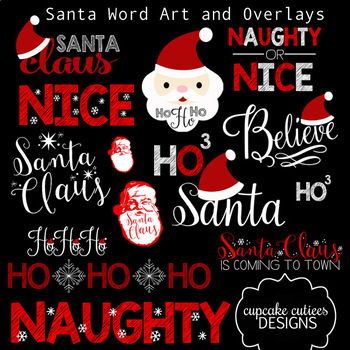 Santa Christmas Holiday  - Inspirational  Word Art Photo Overlays Digital