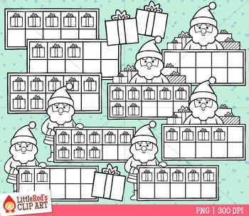 Santa Christmas Ten Frames Clip Art